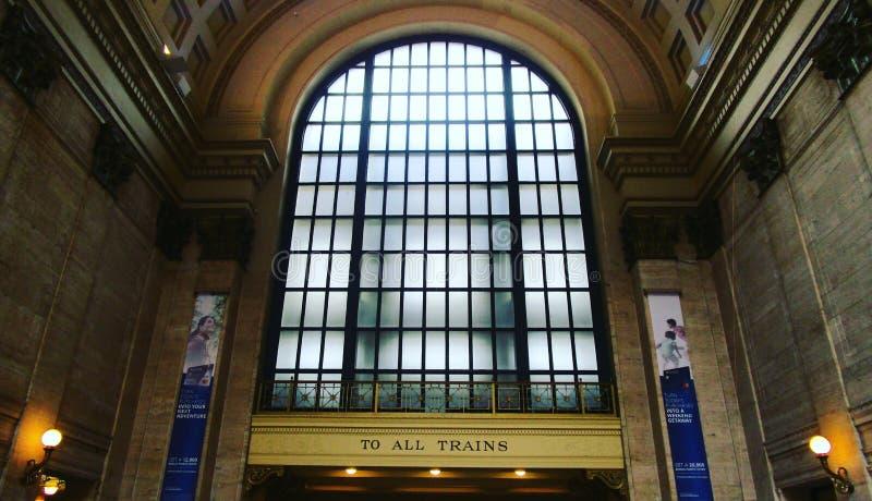 Tudo a bordo da estação Chicago da união imagens de stock royalty free