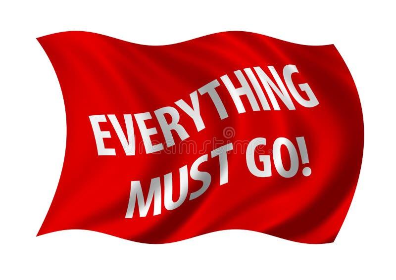 Tudo deve ir bandeira da venda ilustração do vetor