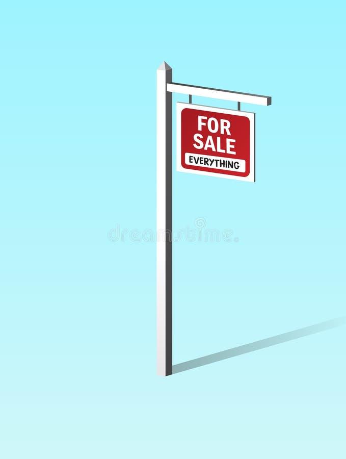 Tudo para o Signage da placa do sinal da venda com a cor vermelha que pendura em Polo de madeira Conceito do capitalismo, moral o foto de stock royalty free