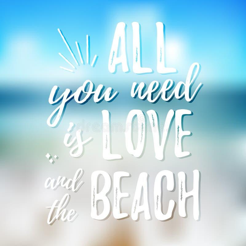 Tudo que você precisa é amor e a praia - projete o elemento para o cartaz da festa de inauguração, projeto do t-shirt Rotulação t ilustração royalty free
