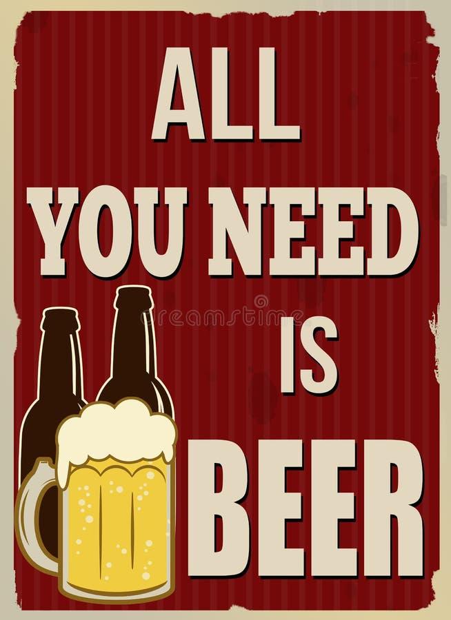 Tudo que você precisa é cartaz retro da cerveja ilustração do vetor
