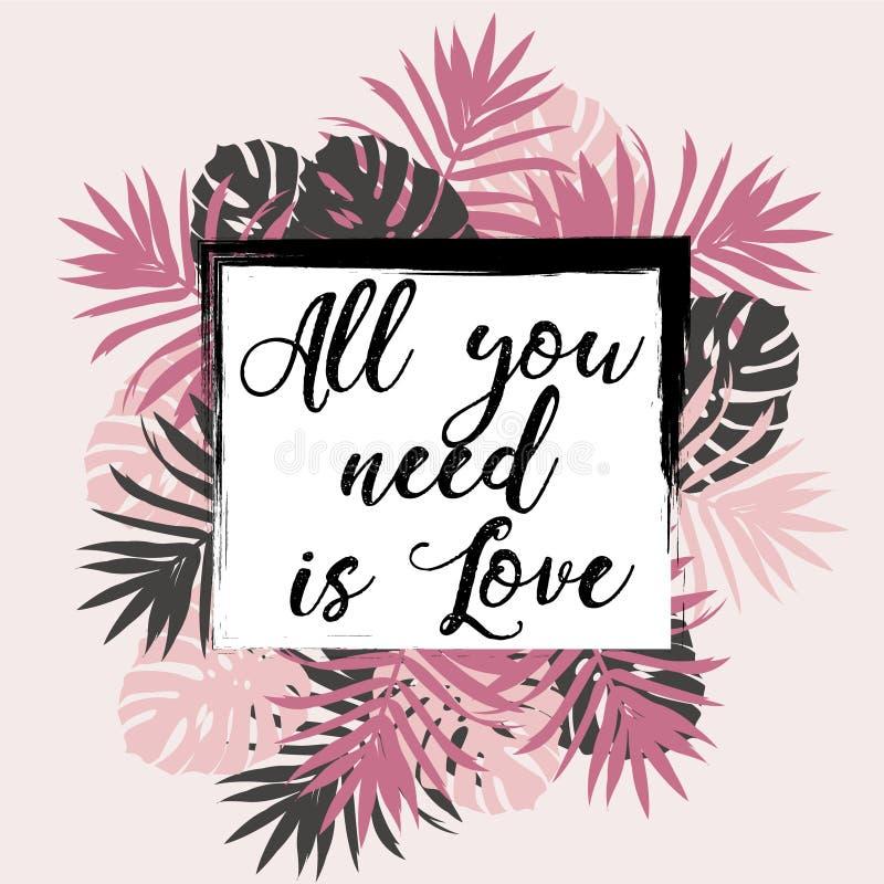 Tudo que você precisa é citações do amor ilustração do vetor