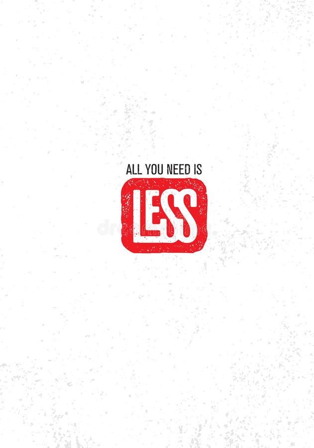 Tudo que você precisa é menos Motivação criativa inspirador Zen Quote Poster Template Projeto da bandeira da tipografia do vetor ilustração royalty free