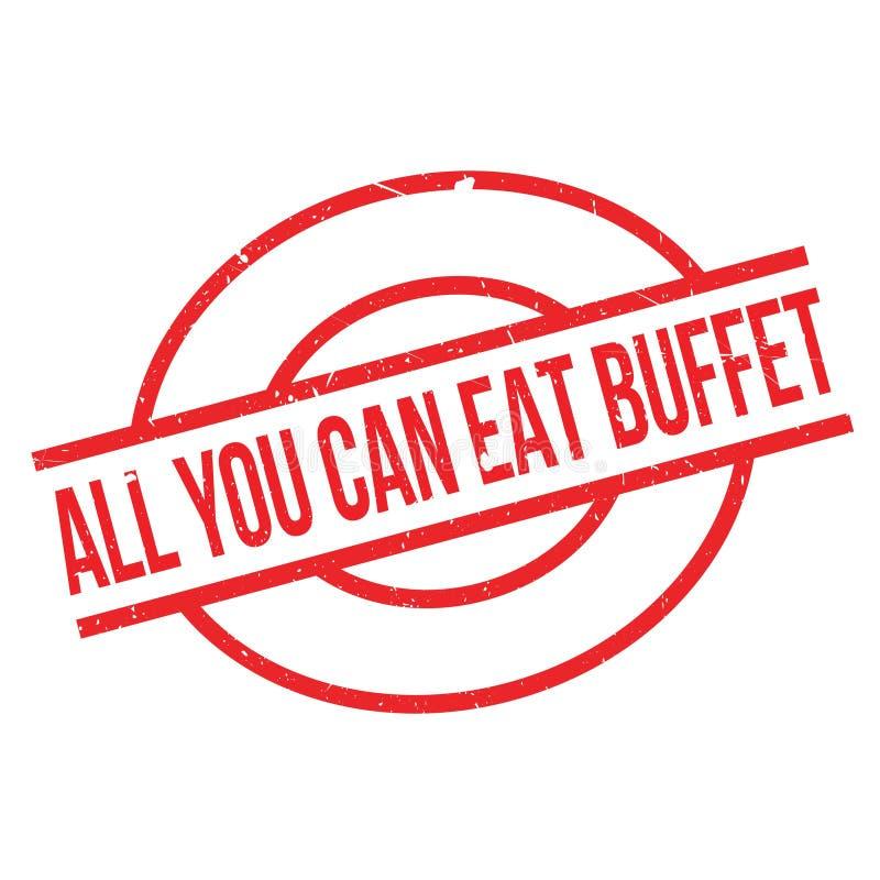 Tudo você pode comer o carimbo de borracha do bufete ilustração royalty free