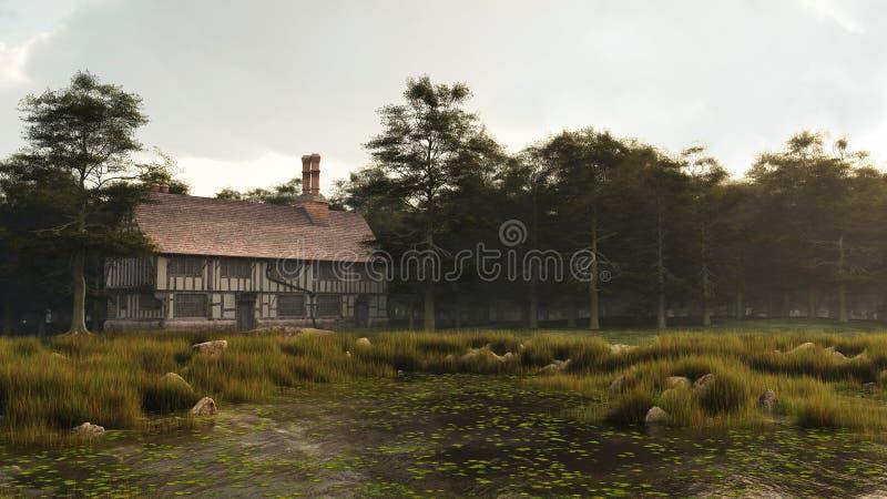 Tudor или елизаветинский дом поместья иллюстрация вектора