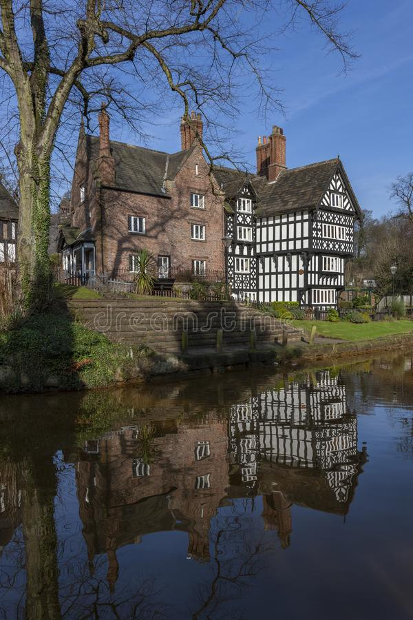 Tudor Building - Bridgewater Canal - Manchester - United Kingdom. Tudor Building by the Bridgewater Canal in Worsley in Manchester in the United Kingdom stock photography