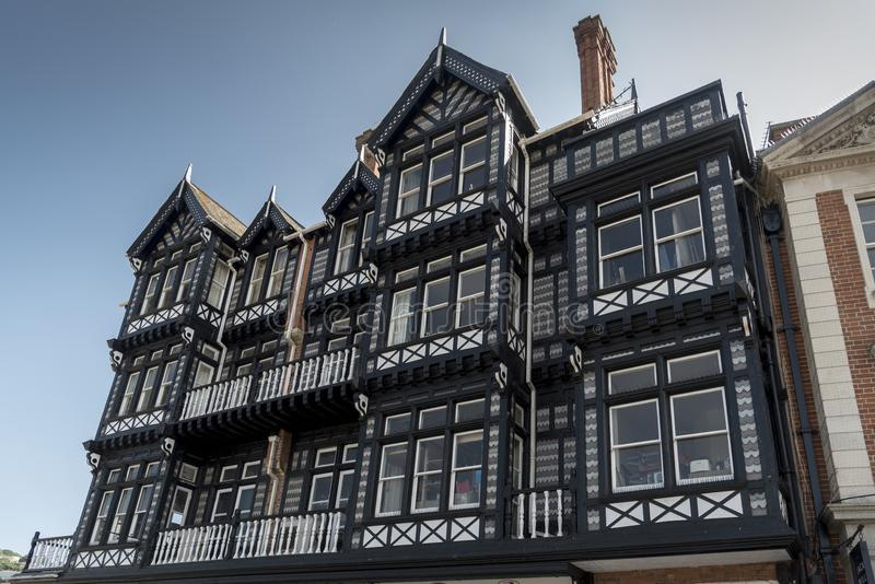Tudor Building Spithead Dartmouth Devon. Spithead is one of the streets that encompass the harbour of the town. Dartmouth is a town and civil parish in the stock photos