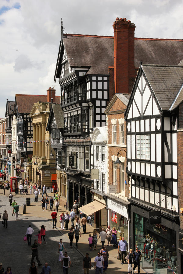 Tudor buildings in Eastgate street. Chester. England royalty free stock photography