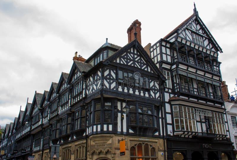 Tudor Buildings i Chester, England royaltyfri fotografi
