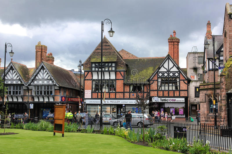 Tudor buildings in Werburgh street. Chester. England royalty free stock photos