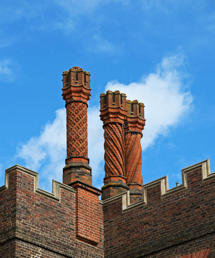 Tudor Chimneys at Hampton Court Palace. Chimneys were symbols of status and wealth in the Tudor World of the 15th and 16th Century. These examples are from the stock photography
