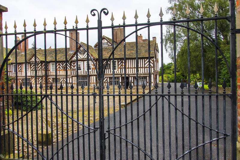 The Tudor Façade, extensive gardens and grounds of Adlington Hall in Cheshire. Adlington Hall is a country house near Adlington, Cheshire. The oldest part of royalty free stock photos