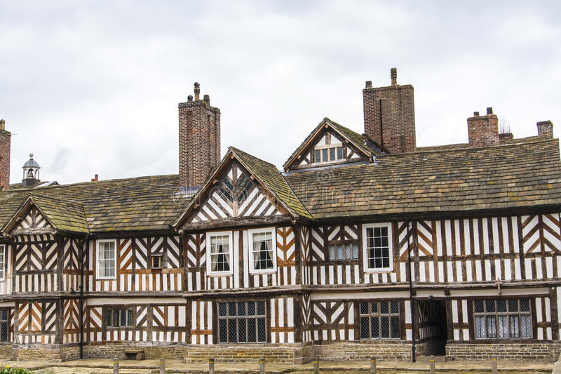 The Tudor Façade, extensive gardens and grounds of Adlington Hall in Cheshire. Adlington Hall is a country house near Adlington, Cheshire. The oldest part of stock photos