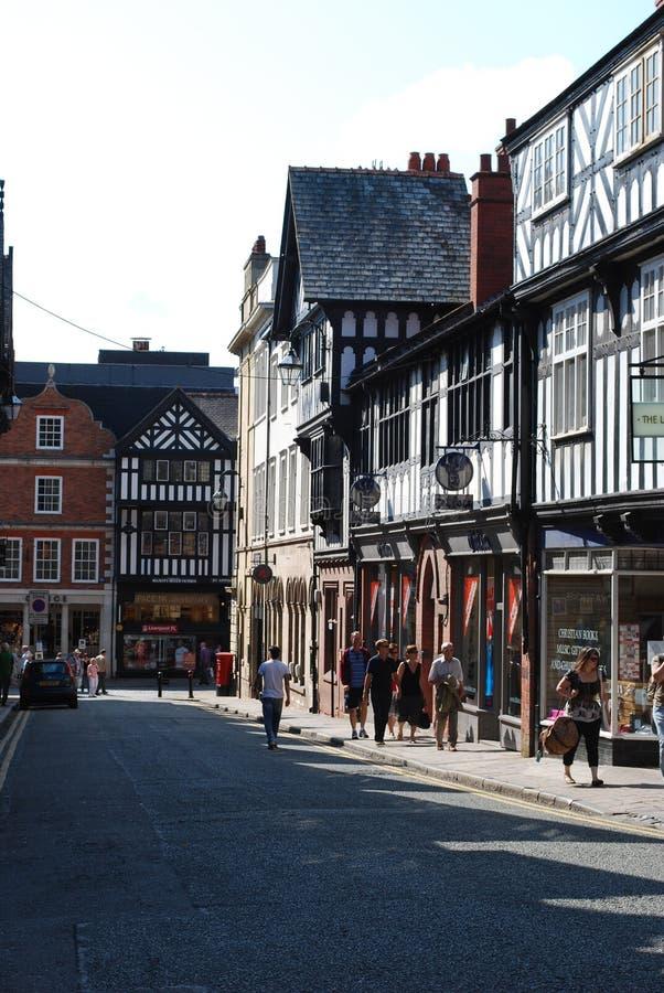 Tudor-Gebäude in Chester, Vereinigtes Königreich lizenzfreie stockfotografie