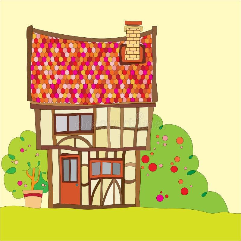 Tudor hus vektor illustrationer