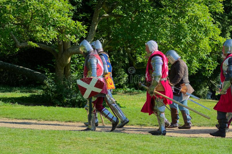 Medieval soldiers. Re-enactment players royalty free stock photo