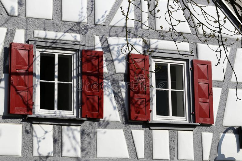 Facades of houses in the old style. Tudor style house. Facades of houses in the old style stock images