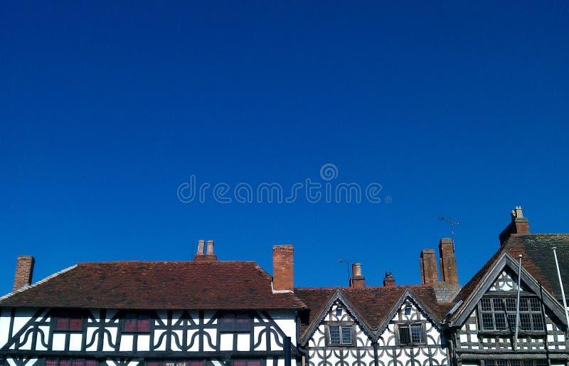 Tudor Style House Rooftops élisabéthain, Stratford Upon Avon, Angleterre photo libre de droits