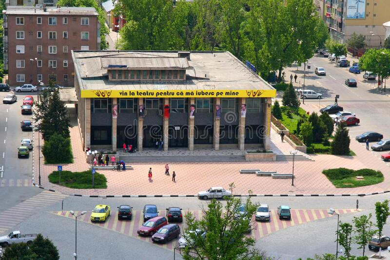 Tudor Vianu theatre in Giurgiu, Romania - view from above. In center of the city stock images