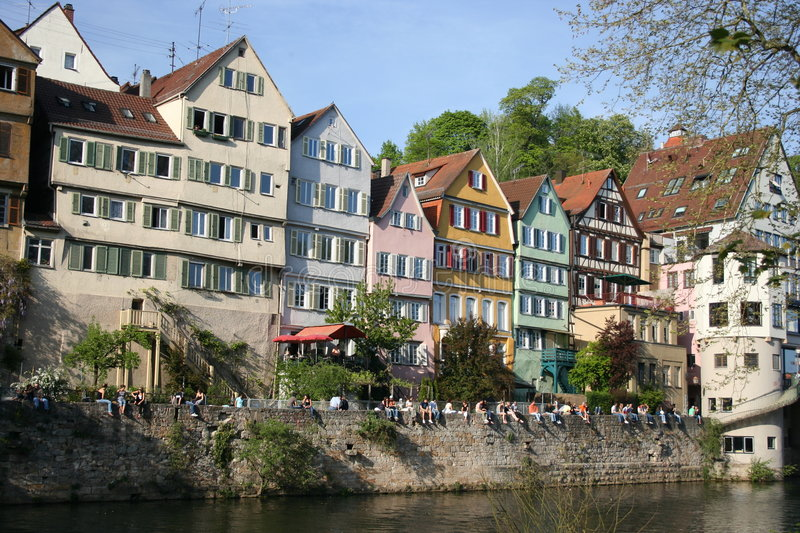 Tuebingen, Germany. Students and tourists enjoy a sunny day in Tuebingen, Germany stock image