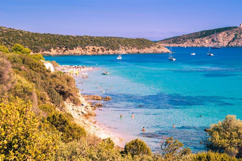 Tuerredda, una di spiagge più belle in Sardegna immagine stock