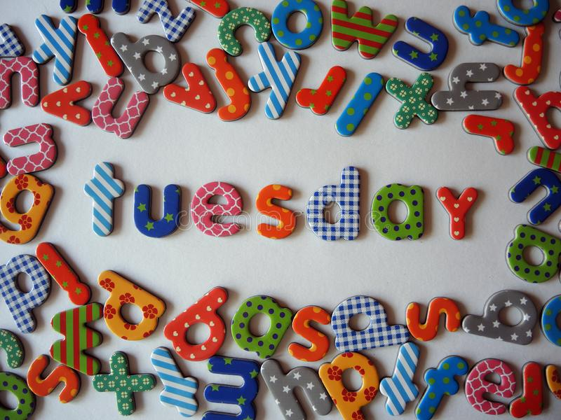 Tuesday banner with colorful lower case letters royalty free stock photos