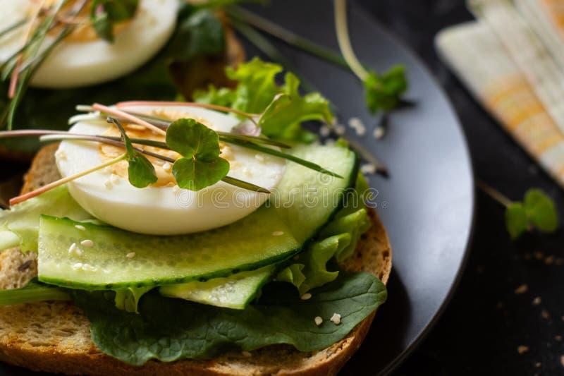 Tueste del pan ?cimo con la lechuga, albahaca, huevo y microgreen imágenes de archivo libres de regalías