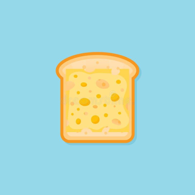Tueste el pan con la parte del icono plano del estilo del queso Ilustración del vector ilustración del vector