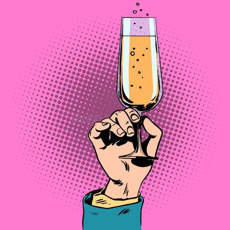 Tueste un vidrio de vino del champán a disposición libre illustration