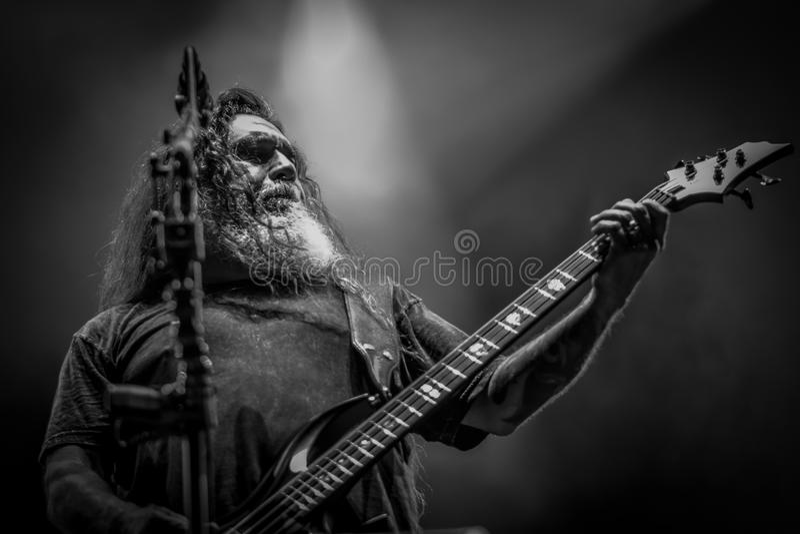 Tueur, métal lourd vivant du concert 2017 de Tom Araya image stock