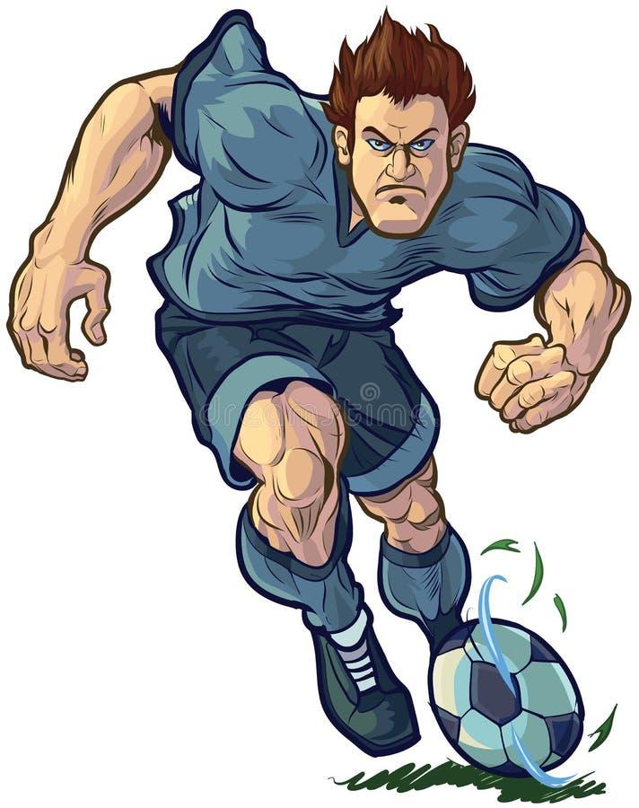 Tuff fotbollspelare som dreglar vektorillustrationen royaltyfri illustrationer