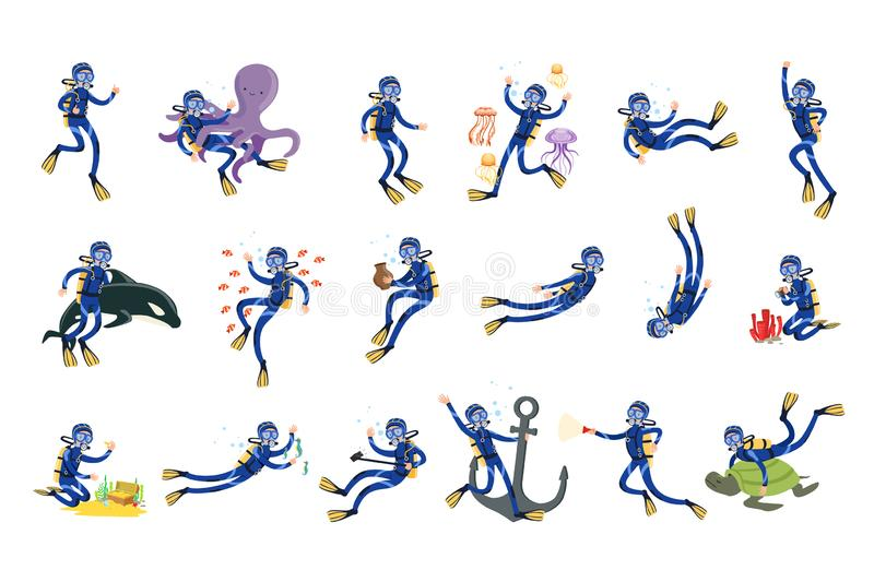 Tuffandosi e immergendosi l'insieme, l'operatore subacqueo nel nuoto subacqueo nella presa d'aria della maschera e le alette vect illustrazione vettoriale