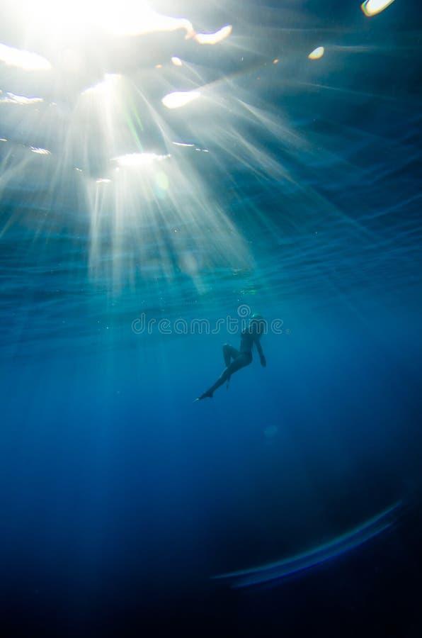 Tuffo della ragazza subacqueo fotografia stock