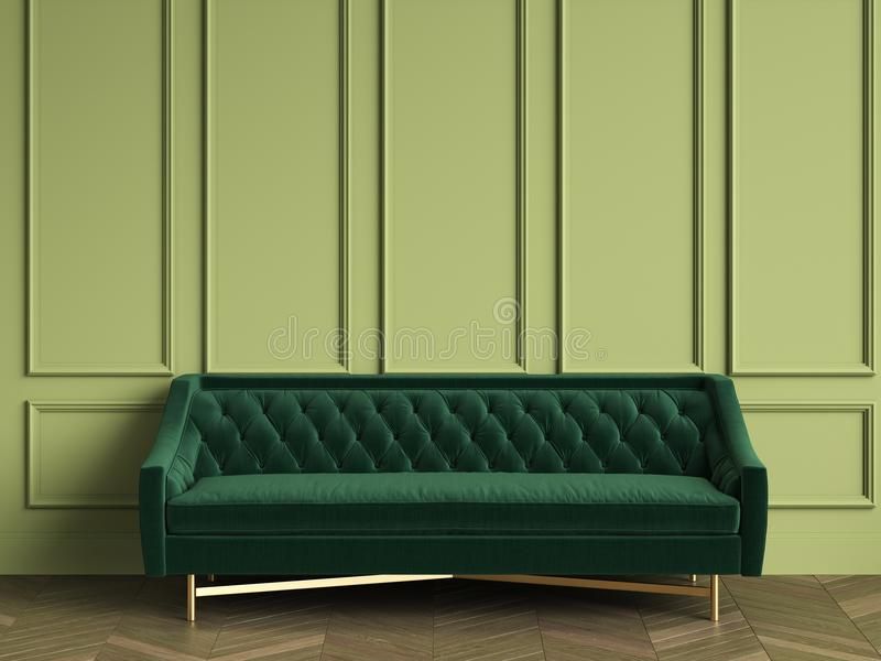 Tufted Dark Green Sofa In Classic Interior With Copy Space Stock ...