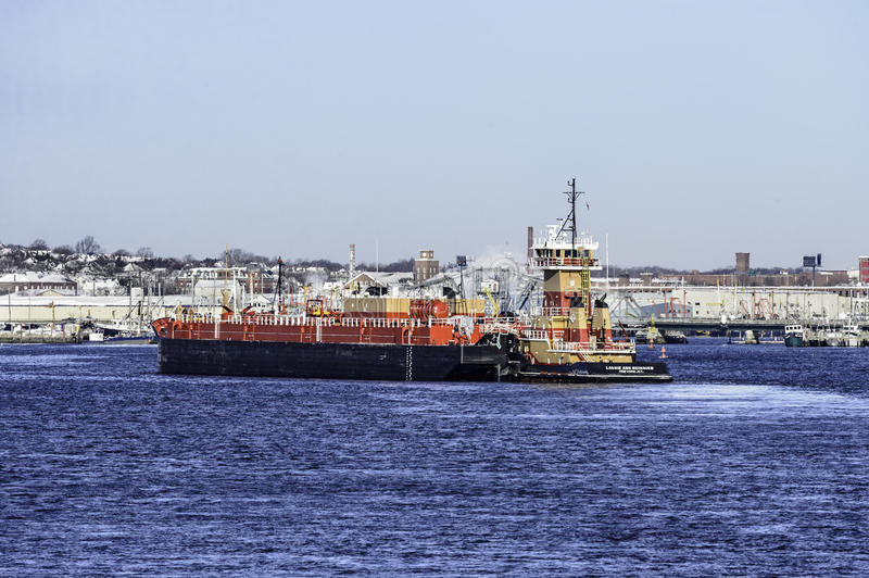 Tug and barge New Bedford harbor stock images