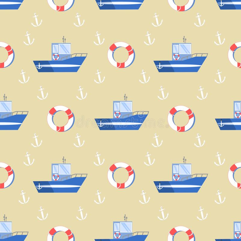 Tug Boat with Anchor and Life Preserver on Beige Background Seamless Pattern stock images