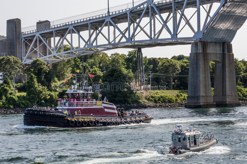 Tug Boat On The Cape Cod Canal stock photos