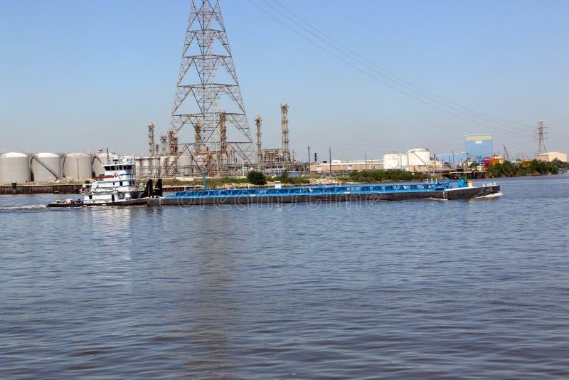 Tug Boat & chiatta sul Manica della nave fotografia stock libera da diritti