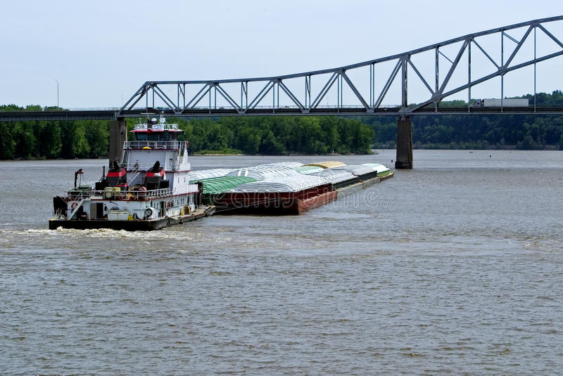 Download Tug boat and grain barge stock image. Image of transportation - 25320377