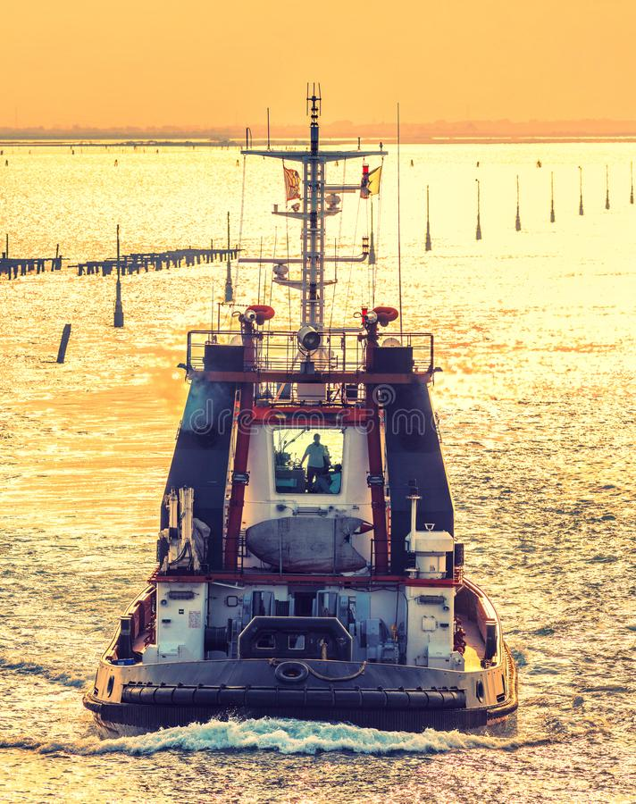 Tug boat in the port royalty free stock images