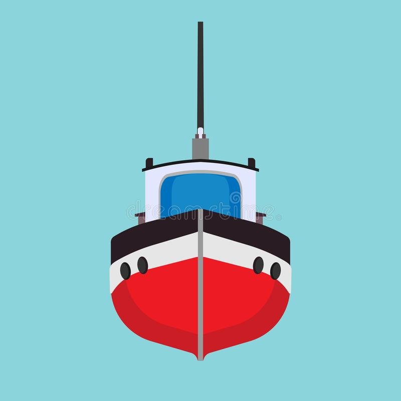 Tug boat vector icon transportation vessel sea. Marine ship industry freight. Tow mini tanker flat cartoon front view vector illustration