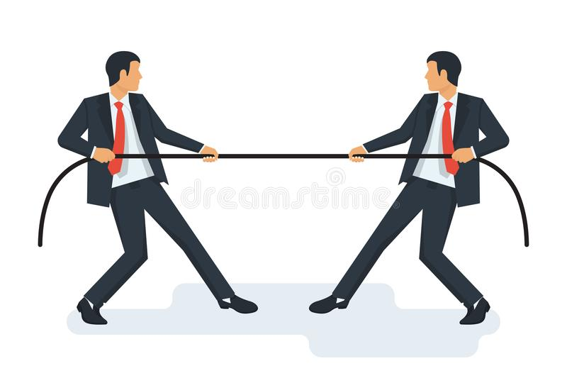 Tug concept. Two businessmen in suits pull the rope stock illustration