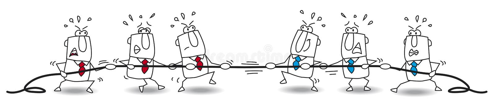 Tug of war of business team stock images