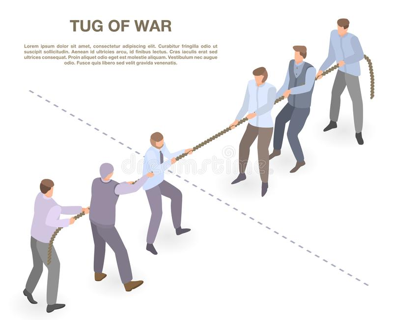 Tug of war concept banner, isometric style royalty free illustration