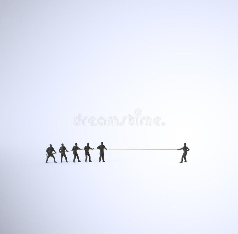 Tug of war. A tug of war between a group of people and a single man stock illustration