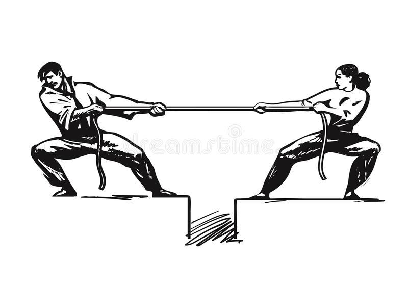 Tug of war. Man and woman are pulling rope. Business competitive concept. Couple fighting. Gender conflict. Psychology stock illustration