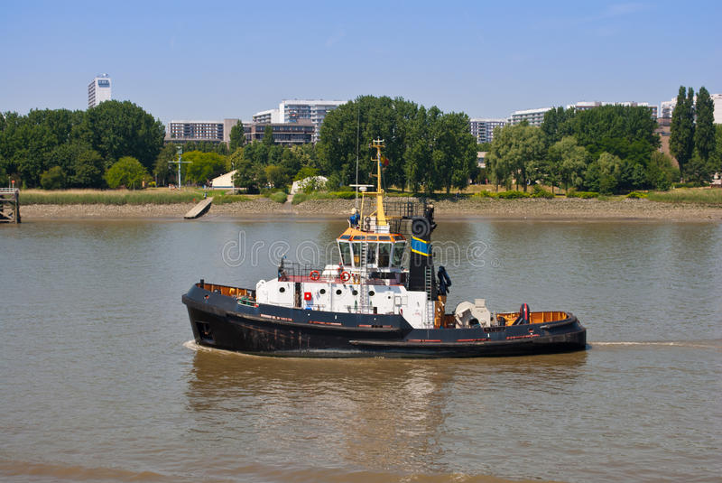Tugboat. Ocean tugboat for offshore oil container ship cargo on a river royalty free stock photography