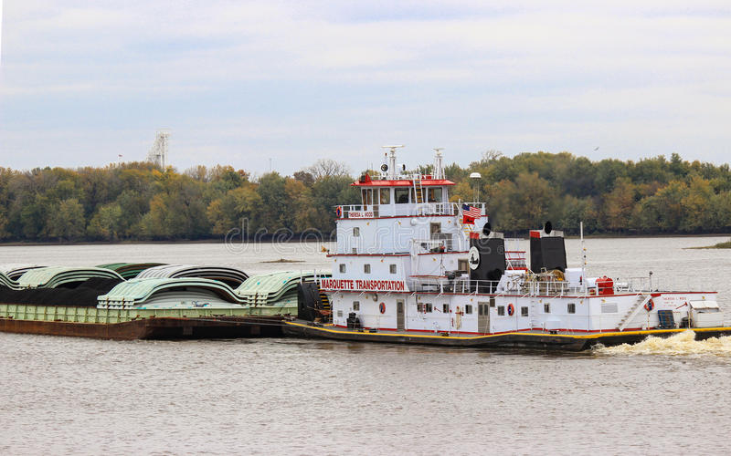 Tugboat and Barge royalty free stock images