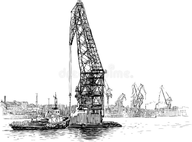 Tugboat and crane. Vector drawing of an industrial tugboat and crane vector illustration