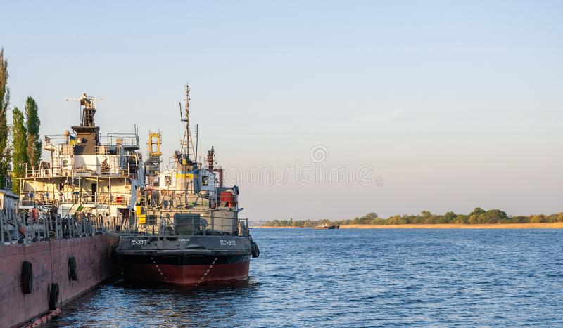 Tugboat on the Dnieper River in Kherson stock photography